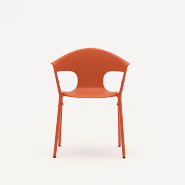Allermuir Axyl armchair in orange front view