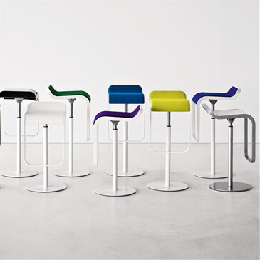 Lem Bar Stool's with white bases and multi-coloured seats
