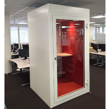 Quietpod white telephone booth red interior