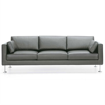 3 seat Park Sofa in grey upholstery and metal leg base