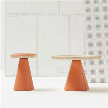 Pion Collection - orange base and wooden surface
