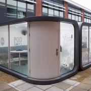 pair of outdoor meeting pods