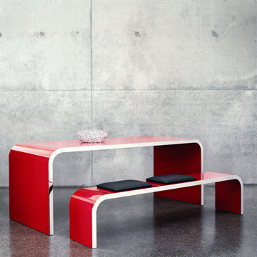 Highline Table and Bench, part of Mueller Highline Collection.