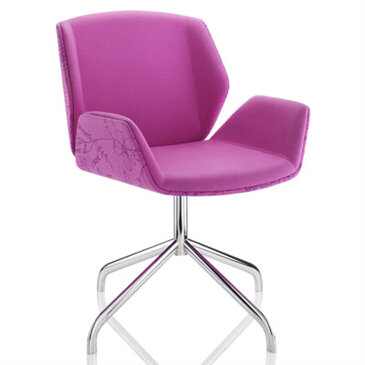 Kruze Meeting Chair in pink with a 4-star base