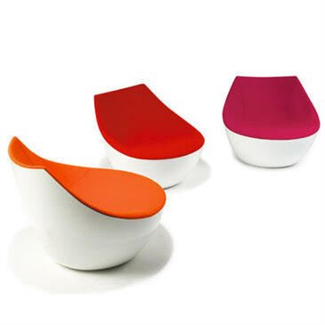 The Orbital Easy Chair, developed by Modus and Christophe Phillet, portrays bold contours and a distinctive mix of materials. The Orbital Chair holds a modern and confident approach. Available in a range of gloss colours and fabric or leather upholstery.