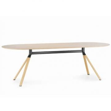 Fork Oval table Oak top black section veneer legs