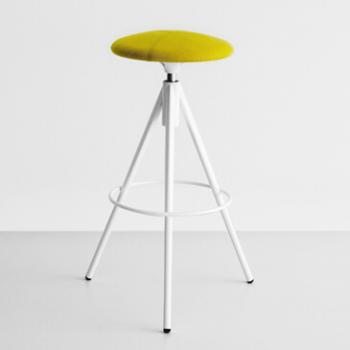 Wil barstool yellow fabric seat white frame