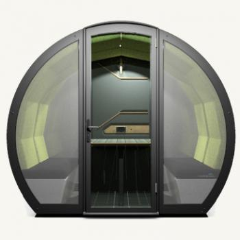 Outdoor meeting pod front view