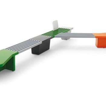 Abracadabra seating with green, orange and grey furniture parts