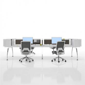 Ad Hoc Desk System with screens for office