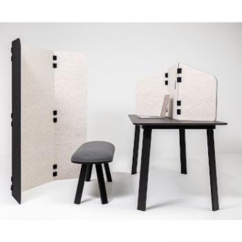 Buzzitrip desk and floor mounted screen