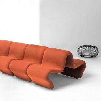 LaCividina Dos a Dos orange lounge seat in bench layout