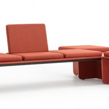 Lande Flatlands cushion centre red coral modular sofa