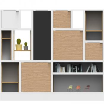 Lande Fundamentals storage solution with wooden doors and multiple shelves