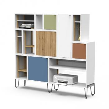 Lande Fundamentals storage solution with wood and fabric doors and multiple shelves 2