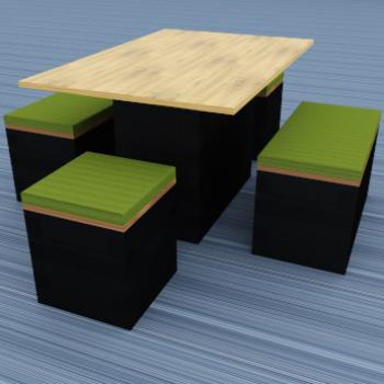 Giant Morph picnic tables and low stools