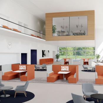 Boss Hemm office lounge seating in orange