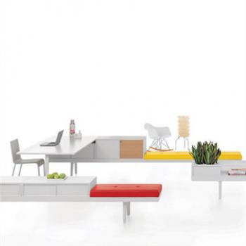 Level 34 desk system with benches in white with yellow and red features