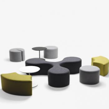 LaCividina Molecule in dark grey with grey and lime green poufs