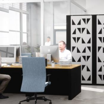 Morph office desks with Morph wall and acoustic panels