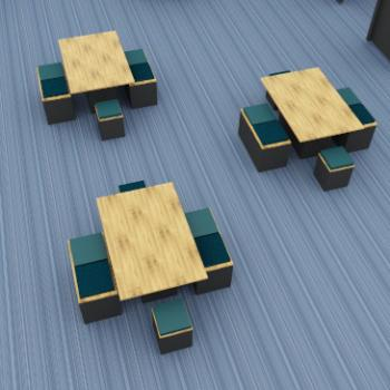 Morph Picnic or breakout tables and low stools and benches