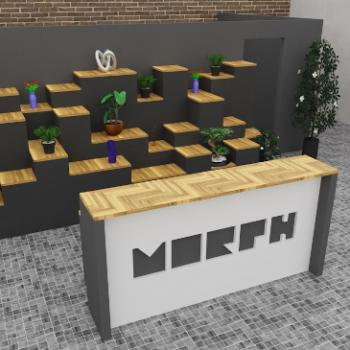 Morph Reception Desk with Logo cut out and bespoke tiered backdrop
