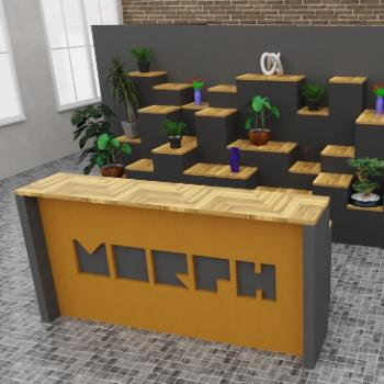 Morph reception desk with coloured acoustic front and cut out with bespoke tiered backdrop