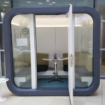 Office pod one to one with grey trim