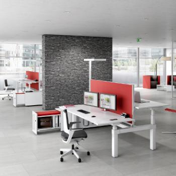 Canvaro compact desk with red screens