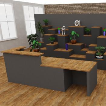 Morph DDA reception desk with bespoke tiered backdrop