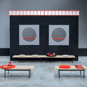 Sancal Interchange bench in reception red