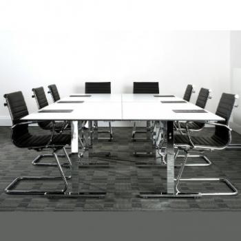 Meeting room with white Vivante 60 20 folding table and black chairs