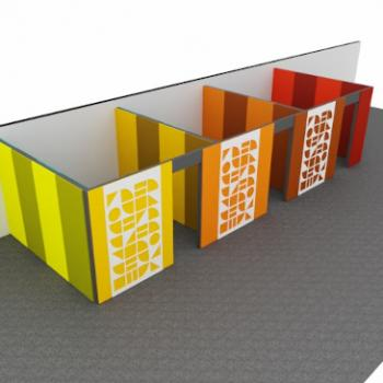 Morph walls used to create rooms with acoustic panels