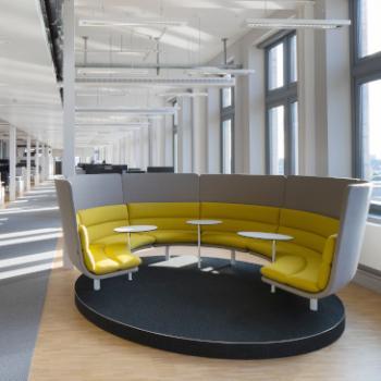 Lande Turning Talks rotating sofa yellow and grey 2
