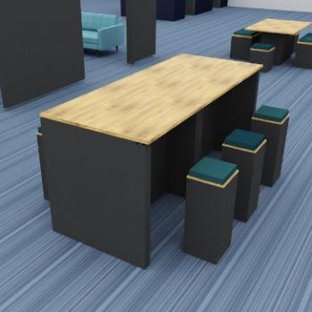 Morph poseur table with high stools