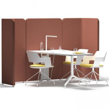 Let meet discussion area with copper upholstery with white tabels and chairs