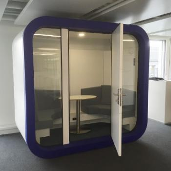 Indoor office pod meeting pod