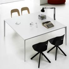 Add T meeting table in white with surrounding chairs