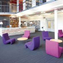 Vitra Amoebe chair in pink and purple in a library
