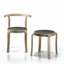 Wooden 8000 Chair and Stool with dark grey seat