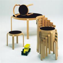 Stack of wooden 8000 series children's furniture with stool, table and chairs
