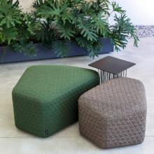 LaCividina Modo ottomans 2 sizes green and brown quilted
