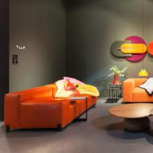 Sancal Mousse sofa orange leather with table accessory