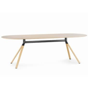 Fork Oval table Oak top black section veneer legs
