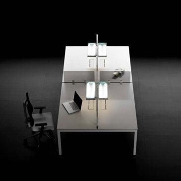 White F25 Desk Range TFL703 in a black room with a black chair