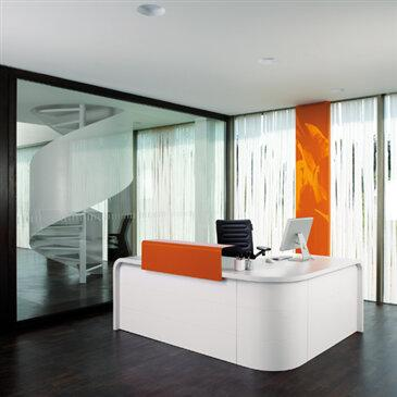 Highline Reception Desk, from Mueller.