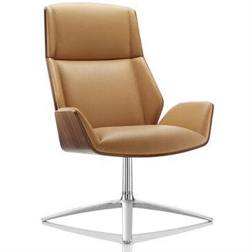 Kruze Lounge Chair with a high wood back designed by David Fox with Boss