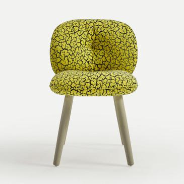 Sancal Mullit chair front view with wooden legs and yellow textile