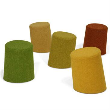 Collection of five 10 Degree Stools by Morph in autumn and nature colours