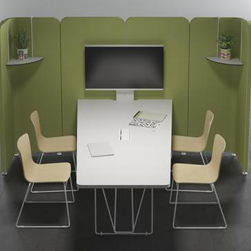 Lets meet and Lets talk meeting space with green upholstery and white tables and chairs